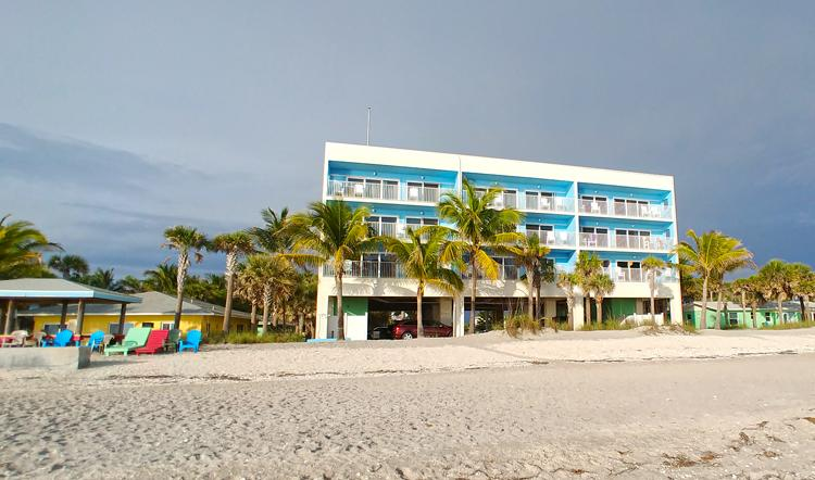 view of nautilus building wannab inn from beach