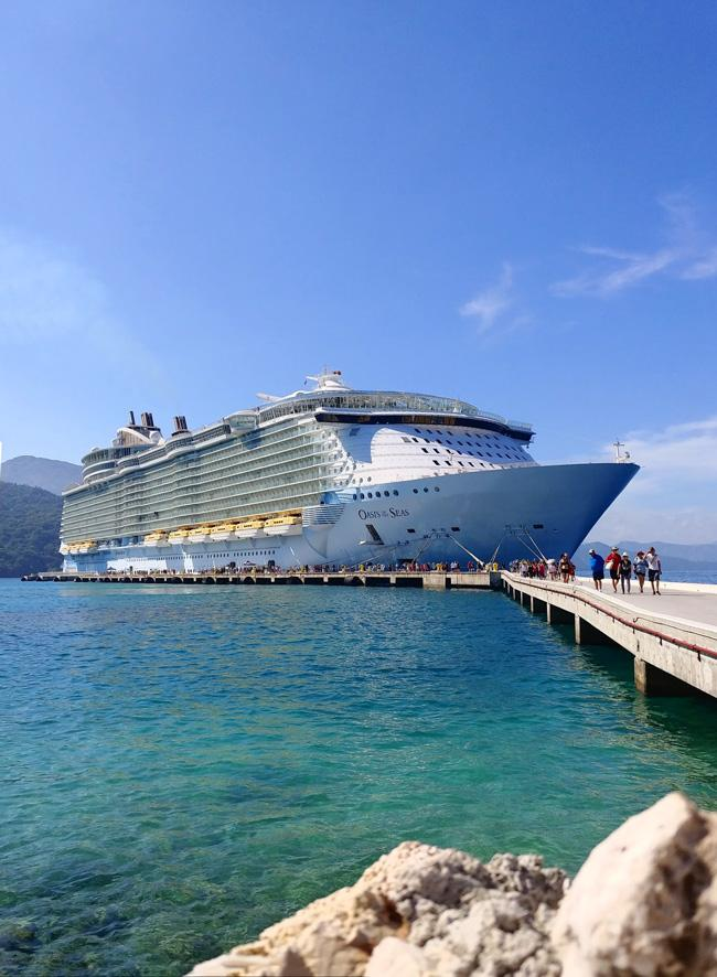 oasis of the seas royal caribbean cruise ship docked in labadee haiti