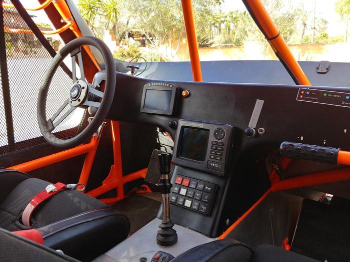 inside a newly updated wide open baja race car