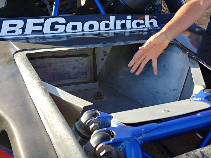 wide open baja car frunk space