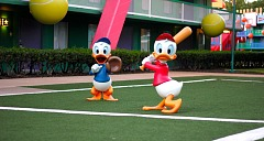 Dewey and Huey Duck playing Baseball on the Tennis Court